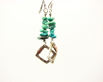 Mixed Metal Earrings Turquoise Jewelry  Copper Wire Wrapped Jewelry Dangle Earrings Rustic Earthy Organic Hippie Bo Ho