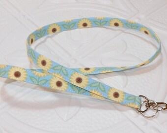 Lanyard - Fabric Lanyard - Teacher Lanyard - Key Lanyard - Sunflowers