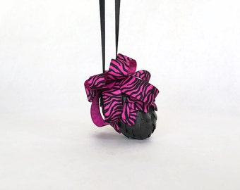 Neon Pink and Black Ribbon Pinecone Easter Egg Ornament