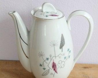 Vintage Mid Century Floral Leaf Platinum Teapot