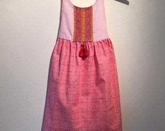 Pink Seersucker & Red Stripes Lynn Dress - Handmade w/Embroidery and Tassels