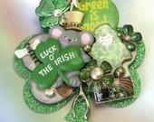 Handmade Upcycled Unique Big Irish Brooch, Irish pin, Irish jewelry, leprochaun, clover, one of a kind, St. Patty's Day,  lizones on etsy
