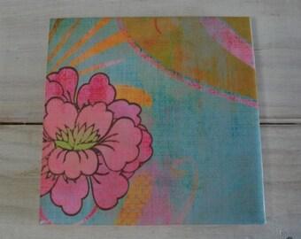 Handmade Tile Trivet, Floral Print Tile Trivet Wine Coaster, Large Size 6 inch Square Trivet,  Pink and Blue Floral Trivet 01