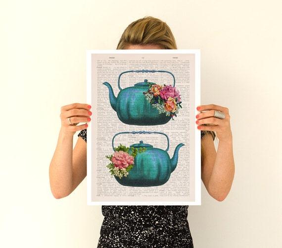 Vintage teapots poster, Tea time art, Kitchen art, Kitchen wall art, Tea time, tea party gift TVH238PA3