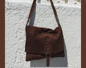 BOHO  suede leather bag in CHOCOLATE BROWN. Soft natural leather bag