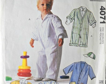 McCall's 4071 Infants Shirt, Jumpsuit, and Cap Pattern, Sizes Small, Medium, Large, Vintage 1988