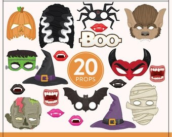 Printable Halloween Photo Booth Props | 20 Printable Props | Instant Download | Photo-Booth Clipart