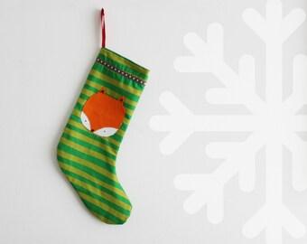 Fox christmas stocking, christmas decoration, holiday decor. Ready to ship.