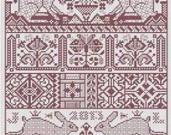 Hare Presumptive cross stitch patterns by Long Dog Samplers at thecottageneedle.com band sampler Scandinavian Celtic motif monochromatic