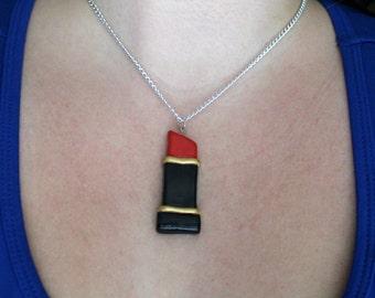 Lipstick Necklace / Red Lipstick / Beauty / Makeup Necklace / Kitschy / Polymer Clay Lipstick