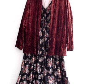 Sale Bohemian Embroidered Velvet Burgundy Jacket
