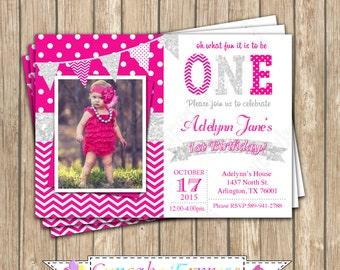 One First Birthday girl hot pink Silver PRINTABLE  Invitation #4  chevron polka dot glitter 1st birthday - 1032