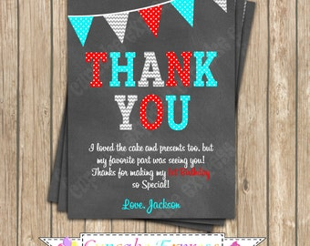 Dr. Seuss Blue Aqua Teal Red Birthday Thank you Card PRINTABLE chalkboard Little Man Thank You Card #1  1st birthday diy  dr. seuss