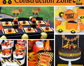 Construction zone dump truck Birthday Party package  PRINTABLE Deluxe  tools backhoe tractor boys first birthday DIY cupcake express