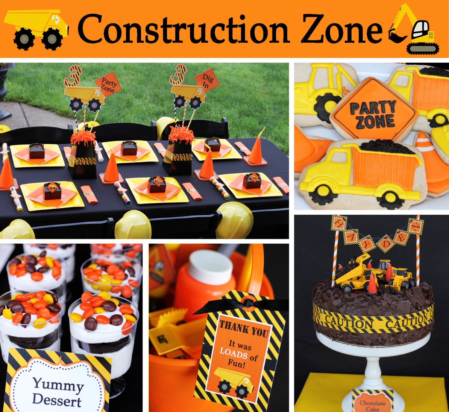 Construction Zone Dump Truck Birthday Party Package PRINTABLE