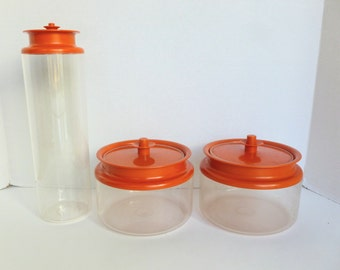 Tupperware Counterparts Canisters Lot Clear Acrylic with Orange Push Button Top Models 1481 and 1486