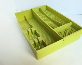 Kitchen Drawer Organizer for Utensils, Silverware, Flatware, Cutlery in Avocado Green Plastic Bi-Level