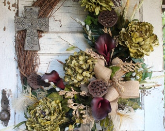 Green and Plum Grapevine Floral Wreath with Cross and Burlap Ribbon / Rustic Elegant Wreath / Eggplant Plum Callas, Green Hydrangea, Peony