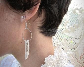 Deer Antler Earrings - THRUSH- Tusk Tribal Minimalist Earthy Statement Jewelry