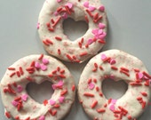 Valentine's Day Large Doggy Donuts - peanut butter jelly cookies with vanilla topping   - All Natural Dog Treats - 6 donuts per order