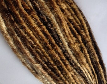 Caramel Blonde Brown Dreads Synthetic Dreadlocks Hair Extensions Set of 35 SE Single Ended Braid in Dreads