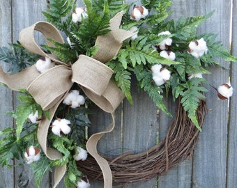 Cotton Wreath - Wreath Great for All Year Round - Everyday Cotton Wreath, Door Wreath,  Burlap Bow Wreath, Etsy Wreath