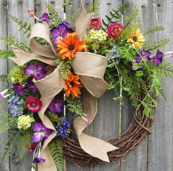 Spring Summer Wreath, Wreath Spring Summer, Wildflower Wreath, Purple Petunia, Burlap Bow Wreath, Housewarming Gift, Designer Wreath