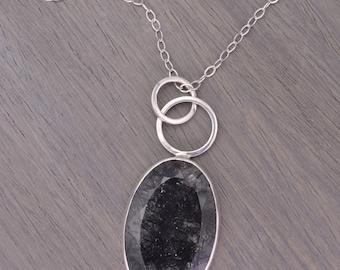 Tourmalinated Quartz Necklace, oval silver 35ct - Parker Pendant
