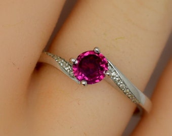 Natural 5mm fine ruby Silver and diamonds engagement ring