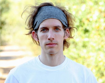 Mens Linen Headband, Charcoal Gray Headband, Man Hair Band, Men's Scarf Headwrap, Gray Linen Head Wrap, Wide Headband (#4702) S M L X