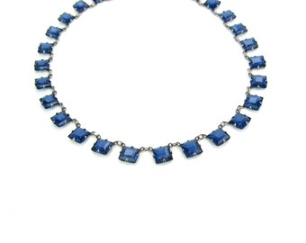 Art Deco Necklace. Sapphire Princess Cut Crystals, Open Backs. Blue Glass & Sterling Silver Choker Necklace. Vintage 1920s Art Deco Jewelry
