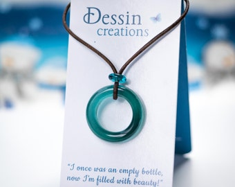 Custom TEAL Upcycled Glass Pendant, Recycled Glass Jewelry, Eco Friendly Gift for Her, Dessin Creations