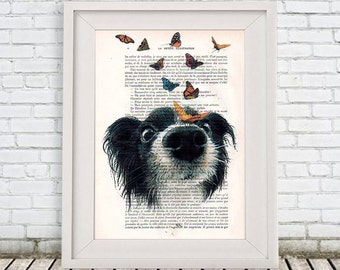 Doggy and butterflies Print, Drawing Illustration Giclee Prints Posters Mixed Media Art Acrylic Painting Wall art wall decor