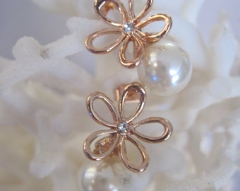 Rose Gold Daisy with Faceted Crystal Center n 10mm Pearl Stud Earrings