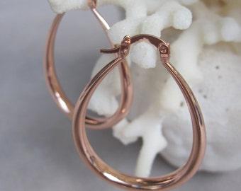 Rose Gold Tear Drop Hoop Earrings