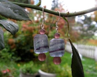 Fluorite and Sea Glass Earrings