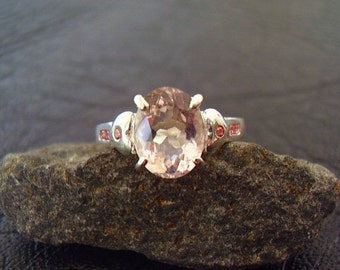 Genuine Morganite & Sapphire Ring - 925 Sterling Silver Ring - Alternative Engagement Ring - Oval Cut Morganite NonTraditional Wedding Ring