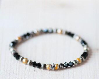 Minimalist Swarovski Crystal Bracelet, Summer Bracelet, Summer Jewelry, Swarovski Jewelry, Minimalist Jewelry, Black Gold Bracelet, For Her