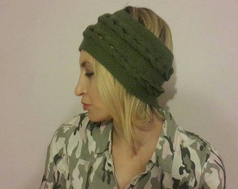 green knitted, workout headband, earwarmer, valentines day gift for her, christmas gift for her bridal wedding