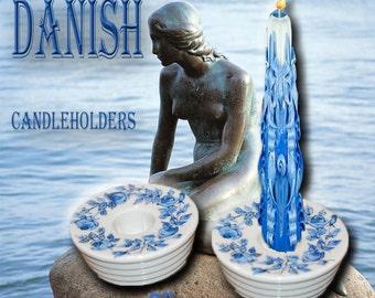 """Danish Candleholders 3"""" diameter x 1.5"""" height."""