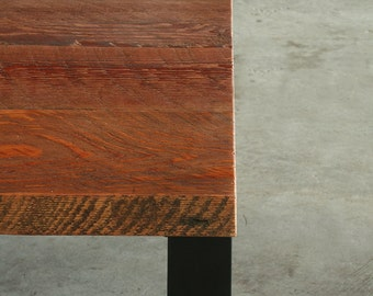 modern loft table - kitchen, dining - reclaimed old growth wood and industrial steel - urban elemental parsons style table