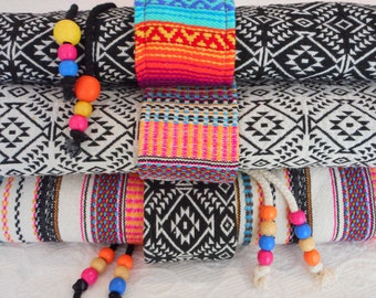 Yoga mat bags large - Mexican fabrics - includes pocket & beaded draw string - Aztec onyx, Aztec oatmeal, and rainbow woven stripes.