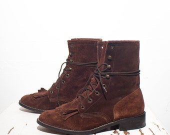 6 M | Women's ACME Brown Suede Lace Up Roper Ankle Boots