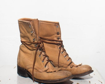 7 M | Distressed Women's Laredo Lace Up Ropers Tan Lacer Ankle Boots Riding Boots
