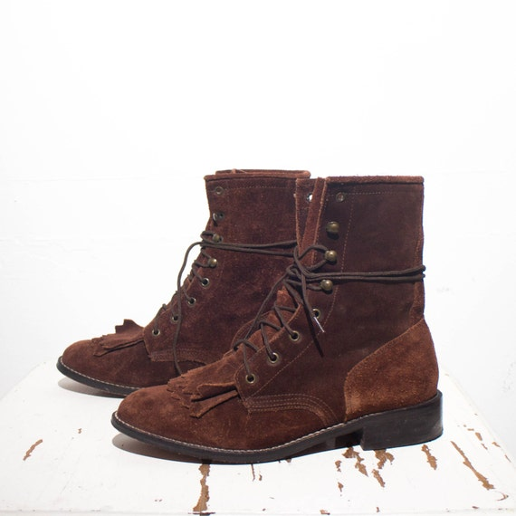 6 m s acme brown suede lace up roper ankle boots
