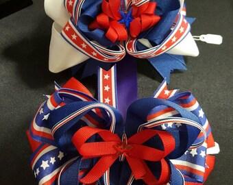 "5.5"" Patriotic Stacked Boutique Bows"