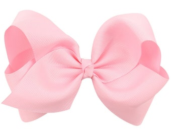 "Pink Hair Bow / 5"" BIG Bow / Flower Girl / Photo Prop / Pageant / Birthday / Baptism / Infant / Baby / Girl / Toddler / Boutique"
