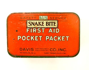 Vintage Snake Bite Kit, Complete in Original Tin (c.1920s) - Collectible First Aid Pocket Tin, Cabin Decor, Man Cave
