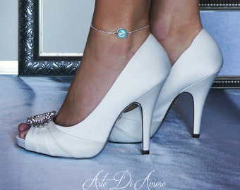 Something Blue Personalized Wedding Anklet for Bride