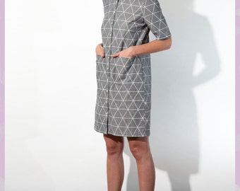 Cotton Chambray Shirt Dress - geometric print